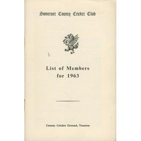 SOMERSET COUNTY CRICKET CLUB LIST OF MEMBERS 1963