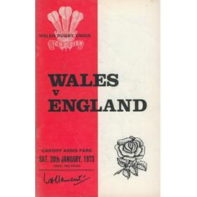 WALES V ENGLAND 1973 RUGBY PROGRAMME