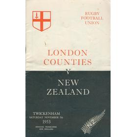 LONDON COUNTIES V NEW ZEALAND 1953-54 RUGBY PROGRAMME