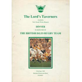 BRITISH LIONS 1989 DINNER MENU AND SOUVENIR (LORD