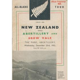 ABERTILLERY AND EBBW VALE V NEW ZEALAND 1953 RUGBY PROGRAMME