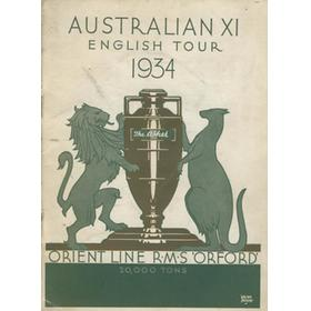 AUSTRALIAN TOUR OF ENGLAND 1934 SIGNED BROCHURE