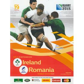 IRELAND V ROMANIA 2015 RUGBY WORLD CUP PROGRAMME