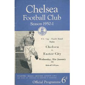 CHELSEA V EXETER CITY 1951 FOOTBALL PROGRAMME