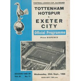 TOTTENHAM HOTSPUR V EXETER CITY 1968 FOOTBALL PROGRAMME