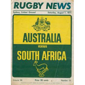 AUSTRALIA V SOUTH AFRICA 1971 (THIRD TEST) RUGBY PROGRAMME