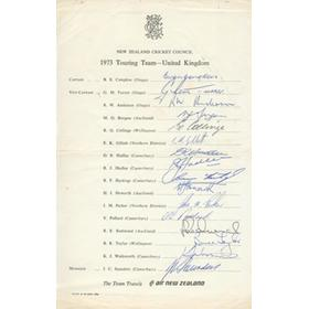 NEW ZEALAND 1973 SIGNED CRICKET TEAMSHEET