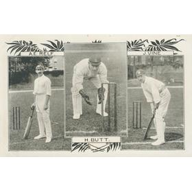 A.E. RELF, H. BUTT AND J. VINE CRICKET POSTCARD - SUSSEX CRICKETERS
