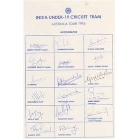 INDIA UNDER-19 (TOUR TO AUSTRALIA) 1995 CRICKET AUTOGRAPHS