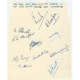 DEVON COUNTY CRICKET CLUB 1954 SIGNED SHEET