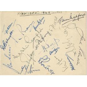 MIDDLESEX 1948-49 CRICKET AUTOGRAPHS