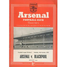 ARSENAL V BLACKPOOL 1952-53 FOOTBALL PROGRAMME