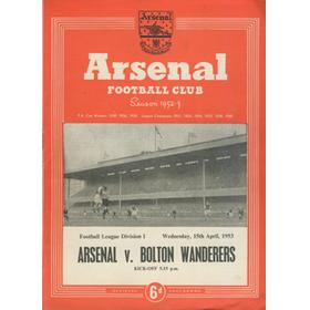 ARSENAL V BOLTON WANDERERS 1952-53 FOOTBALL PROGRAMME