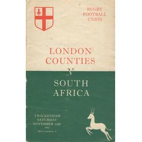 LONDON COUNTIES V SOUTH AFRICA 1951-52  RUGBY PROGRAMME (SPRINGBOKS