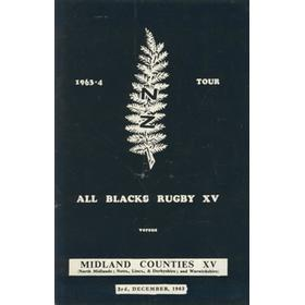 MIDLAND COUNTIES XV V NEW ZEALAND 1963/64 RUGBY PROGRAMME