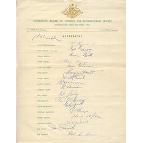 AUSTRALIA 1961 CRICKET AUTOGRAPHS