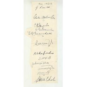 INDIA 1932 CRICKET AUTOGRAPHS
