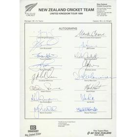 NEW ZEALAND CRICKET TOUR TO ENGLAND 1990 OFFICIAL TEAM SHEET