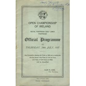 OPEN CHAMPIONSHIP OF IRELAND 1937 GOLF PROGRAMME