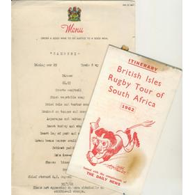 BRITISH LIONS RUGBY TOUR TO SOUTH AFRICA 1962 TOUR ITINERARY