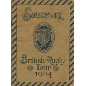 BRITISH LIONS RUGBY TOUR TO SOUTH AFRICA 1924 SOUVENIR BROCHURE - SIGNED