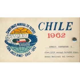 1962 WORLD CUP SET OF TICKETS FOR THE NATIONAL STADIUM, SANTIAGO (INCLUDING FINAL)