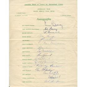 AUSTRALIA 1957-58 CRICKET AUTOGRAPHS