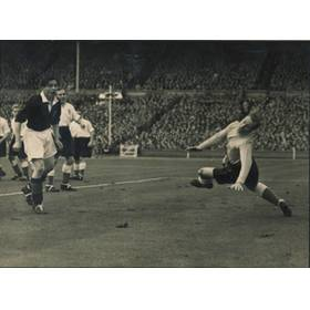 ENGLAND V SCOTLAND 1951 FOOTBALL PHOTOGRAPH - JOHNSTONE SCORING FOR SCOTLAND