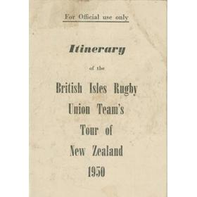 BRITISH LIONS TOUR TO NEW ZEALAND & AUSTRALIA 1950 INTINERARY