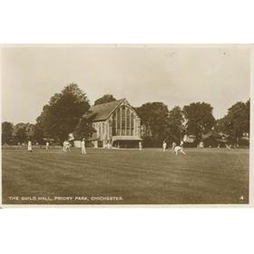 CRICKET AT THE GUILDHALL, PRIORY PARK, CHICHESTER - POSTCARD