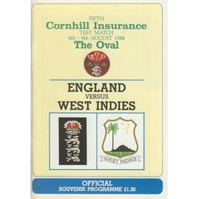 ENGLAND V WEST INDIES 1988 5TH TEST (OVAL) CRICKET PROGRAMME