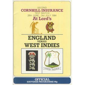 ENGLAND V WEST INDIES 1984 2ND TEST (LORD