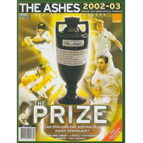 THE ASHES 2002-03 SOUVENIR CRICKET TOUR BROCHURE