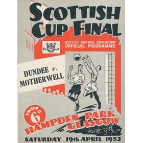 DUNDEE V MOTHERWELL 1952 SCOTTISH CUP FINAL FOOTBALL PROGRAMME