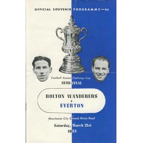 BOLTON WANDERERS V EVERTON 1953 F.A. CUP SEMI-FINAL FOOTBALL PROGRAMME