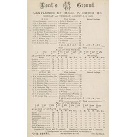 GENTLEMEN OF M.C.C. V DUTCH XI 1901 CRICKET SCORECARD