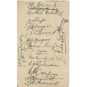 AUSTRALIA 1926 CRICKET AUTOGRAPHS