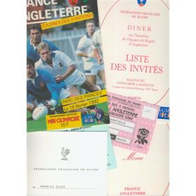 FRANCE V ENGLAND 1992 RUGBY PROGRAMME + TICKET, DINNER MENU ETC.