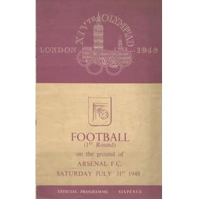LONDON OLYMPICS 1948 - GREAT BRITAIN V HOLLAND FOOTBALL PROGRAMME (HIGHBURY)