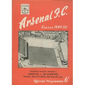 ARSENAL V BLACKPOOL1949-50 FOOTBALL PROGRAMME
