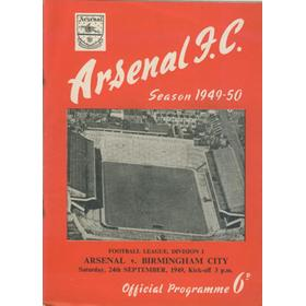 ARSENAL V BIRMINGHAM CITY 1949-50 FOOTBALL PROGRAMME
