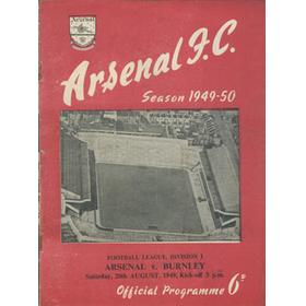 ARSENAL V BURNLEY 1949-50 FOOTBALL PROGRAMME