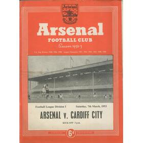 ARSENAL V CARDIFF CITY 1952-53 FOOTBALL PROGRAMME