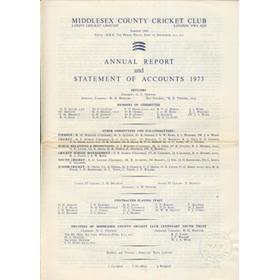 MIDDLESEX COUNTY CRICKET CLUB ANNUAL REPORT 1973