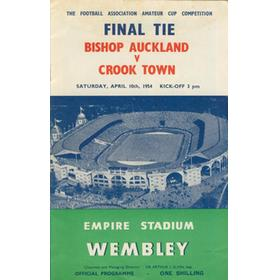 BISHOP AUCKLAND V CROOK TOWN 1954 AMATEUR CUP FINAL FOOTBALL PROGRAMME