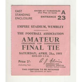 BISHOP AUCKLAND V PEGASUS 1951 AMATEUR CUP FINAL FOOTBALL TICKET