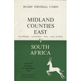 MIDLAND COUNTIES (EAST) V SOUTH AFRICA 1969 RUGBY PROGRAMME