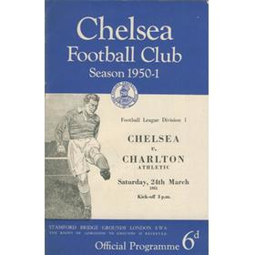 CHELSEA V CHARLTON ATHLETIC 1950-51 FOOTBALL PROGRAMME