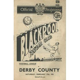 BLACKPOOL V DERBY COUNTY 1950-51 FOOTBALL PROGRAMME
