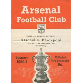 ARSENAL V BLACKPOOL 1950-51 FOOTBALL PROGRAMME